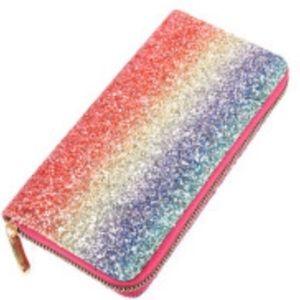 Ombré rainbow glitter zip wallet